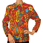 Vintage 60s Sweater Top Bright Psychedelic Floral Pattern Ladies Size L
