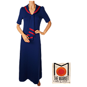 Vintage 1970s Maxi Dress Sailor Style by The Market Canada Size M