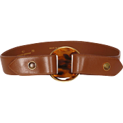Vintage 70s Valentino Garavani Brown Leather & Faux Tortoiseshell Belt Ladies Size S M
