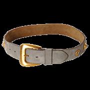 Vintage 80s Escada Laurel Gray Suede Leather Belt Ladies Size S M