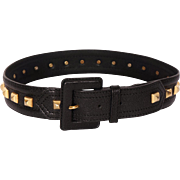 Vintage 70s Yves Saint Laurent Rive Gauche Studded Black Leather Belt Ladies Size S / M