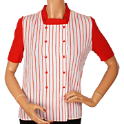 Vintage 70s Courreges Paris Cotton Crepe Blouse Red Stripes Ladies Size S