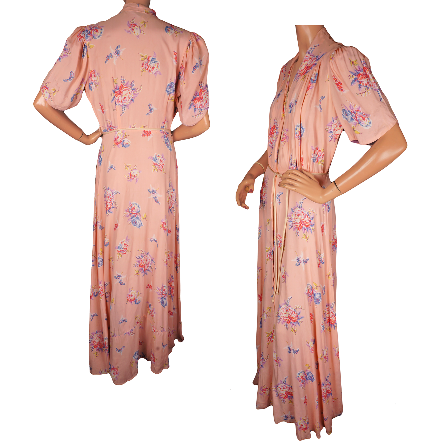 Vintage 1940s Floral Print Pink Dressing Gown By Brendelle Ladies Size From