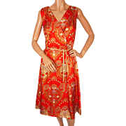Vintage 1960s Silk Dress Hugh Garber for Margo Canadian Design Size M
