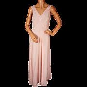 Vintage 1940s Silk Nightgown Pink Nightie w Embroidered Applique Flowers Size M / L