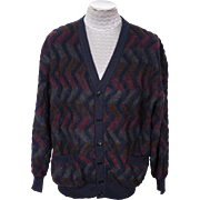 Vintage 1980s Missoni Mens Cardigan Sweater - Zig Zag Pattern