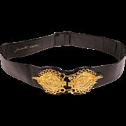 Vintage 80s Judith Leiber Black Leather Belt Ladies Adjustable Size M to L Waist