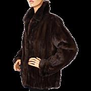 Vintage Mink Fur Jacket Dark Brown Size M