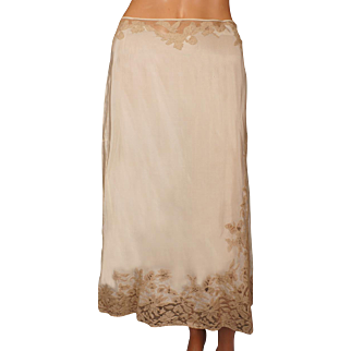 Vintage 1930s Half Slip with Ecru Lace Insetting Size M