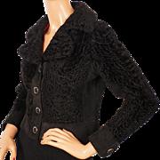 Vintage Broadtail Lamb Fur Jacket - Cropped Fur Jacket - S