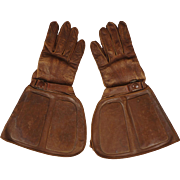 Vintage 1920s or 30s St Lawrence Motorcycle Gloves Gauntlet Style Quebec Size 8.5