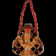 Vintage Lucite Chain Handle Purse Ball Clasp Deco Velvet Handbag