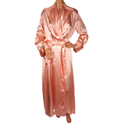 Vintage 1940s Peignoir Pink Satin Dressing Gown - M