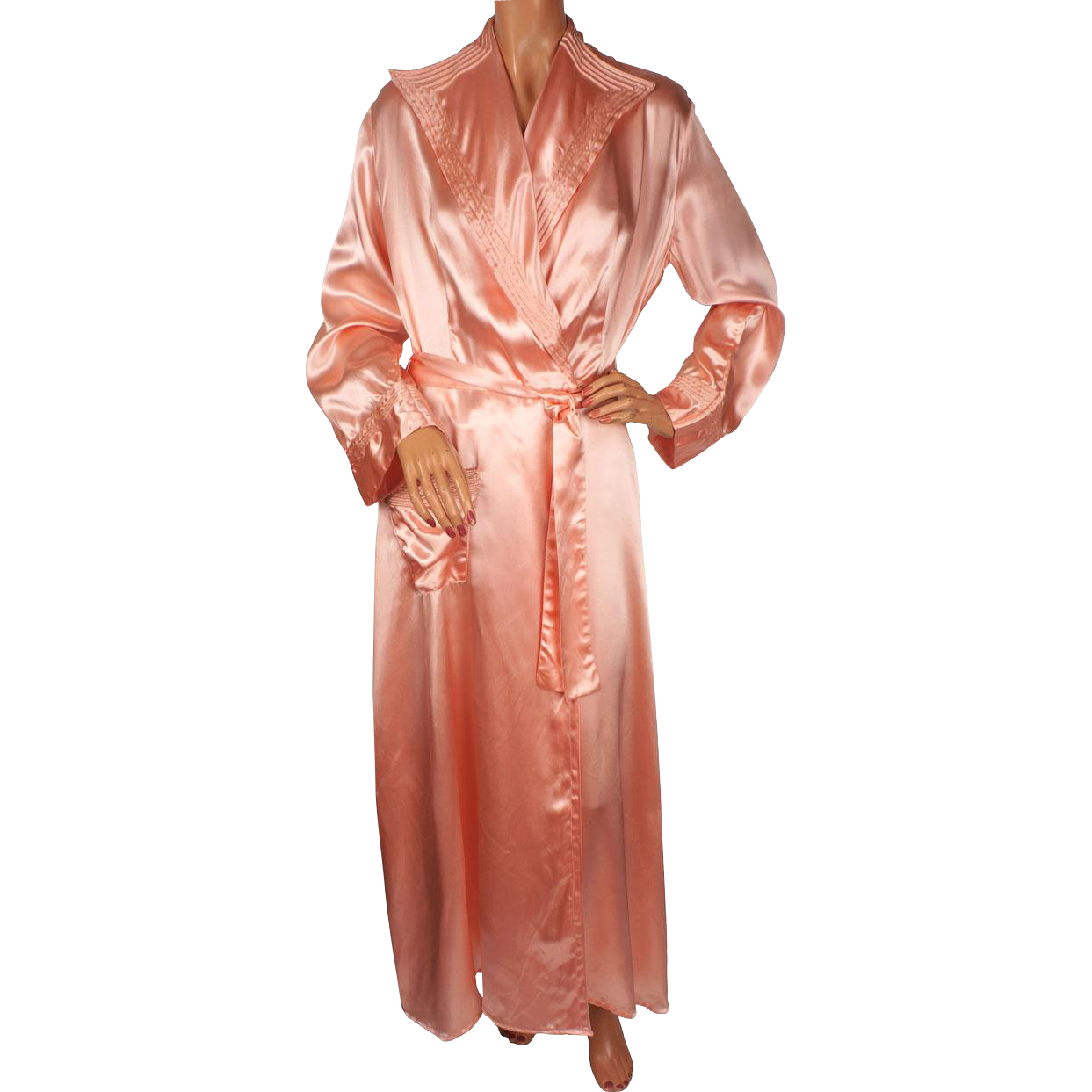 1940s Dressing Gown: Vintage 1940s Peignoir Pink Satin Dressing Gown