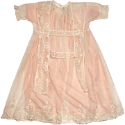 Antique Edwardian Christening Gown Set w Silk Slip and Tulle Coat