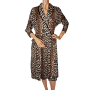 Vintage 1950s Leopard Print Lounging Robe - Size M