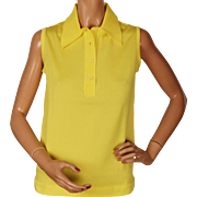 Vintage Yellow Knit Top Sleeveless Blouse 1960s Orlon Size M Unused