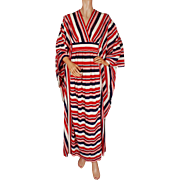 Vintage Caftan Lounging Robe 1960s Striped Fabric Red White & Blue Unused