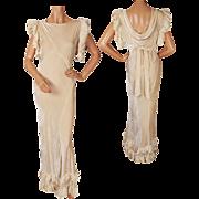 Vintage Panne Velvet Evening Gown 1930s Dress Cream White Size M