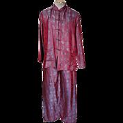 Vintage Silk Pajamas Asian Motif Lounging Pyjamas Size L XL