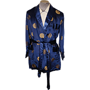 Vintage 1960s Blue Silk Smoking Jacket - Size L