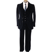 Vintage 1970s Mod 3 Piece Mens Suit - Midnight Blue Velvet - Size S