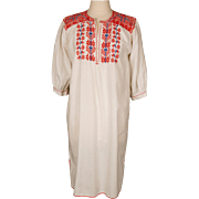 Vintage Peasant Dress 1960s Ethnic Embroidered White Cotton Size M / L