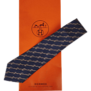 Vintage Hermes Tie Silk Twill Horsebit Pattern 951 Necktie Made in France