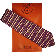 Authentic Hermes Tie Silk Twill Geometric Pattern 7035 Mens Vintage Necktie Made in France