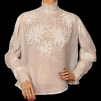 Antique Victorian White Cotton Blouse w Embroidered Flower Appliques Size M
