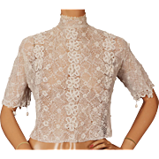 Antique Edwardian White Irish Crochet Lace Blouse Size M