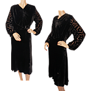 Vintage 1930s Black Velvet Dress with Devore Burnout Sleeves Ladies Size M L
