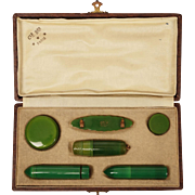 Art Deco French Celluloid Vanity Travel Set Clé Ber Paris Cosmetic Case