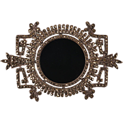 Vintage Marcasite and Onyx Silver Brooch