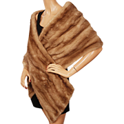 Vintage Mink Fur Stole Wrap 1960s Glamour Light Brown
