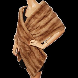 Vintage Mink Fur Stole Wrap 1960s Glamour Light Brown