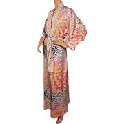 Vintage Claire Haddad Dressing Gown 1970s Kimono Style Robe Size S