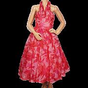 Vintage 1950s Pink Halter Style Dress - M