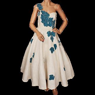 Vintage 50s Party Dress One Shoulder Gown - Blue Velvet Foliage Appliques - S