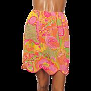 Vintage 1960s Mod Psychedelic Half Slip for Mini Skirt Vibrant
