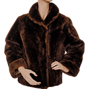 Vintage Mouton Jacket Brown Sheared Lamb Fur Ladies Size Small