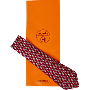 Vintage Hermes Tie Silk Twill 691 OA Burgundy Mens Necktie Made in France