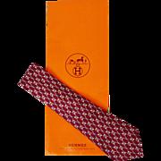 Vintage Hermes Tie Silk Twill 691 OA Burgundy Mens Necktie Made in France