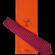Vintage Hermes Tie Silk Twill 7124 FA Magenta Red Mens Necktie Made in France
