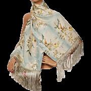 RESERVED Vintage 1920s Japanese Printed Silk Shawl Fringed Scarf