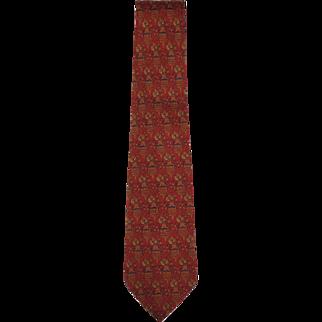 Vintage Salvatore Ferragamo Tie Silk Twill Building Pattern Necktie