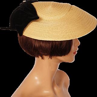 Vintage Schiaparelli Paris Hat 1950s Pancake Style Straw Ladies Size M