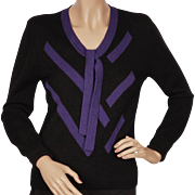 Vintage 1980s Sonia Rykiel Sweater Purple Stripes on Black Wool M