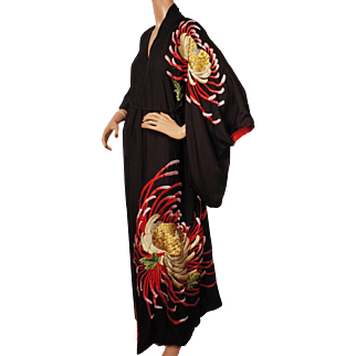 Vintage Japanese Silk Kimono Floral Embroidery Robe Size M L