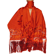 Vintage 60s Orange Rayon Shawl Stole with Fringe